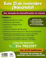 Nueva jornada de vacunación gratuita en Cúcuta el 21 de noviembre